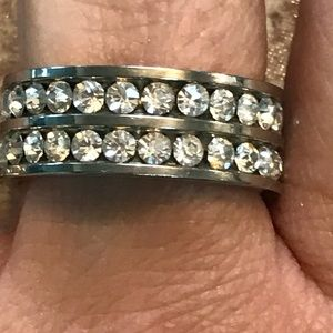 Double Row Crystal Eternity Band Size 7 316L